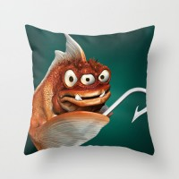 Evil fish throw pillow